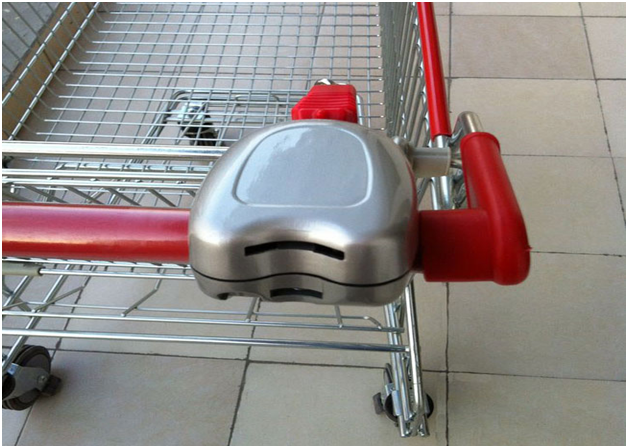 coin lock on shopping trolley