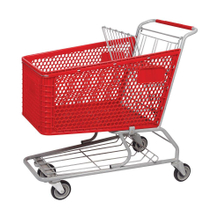 125L Folding Retail Plastic Shopping Cart With Seat