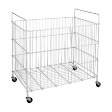 Collapsible Galvanized Nesting Mesh Roll Container with Wheels