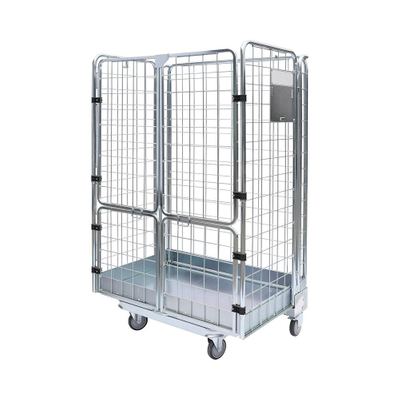 2 sides Stackable Rolling Metal Steel Wire Mesh Container