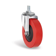 "4"" PVC red caster with axle for shopping trolleys"